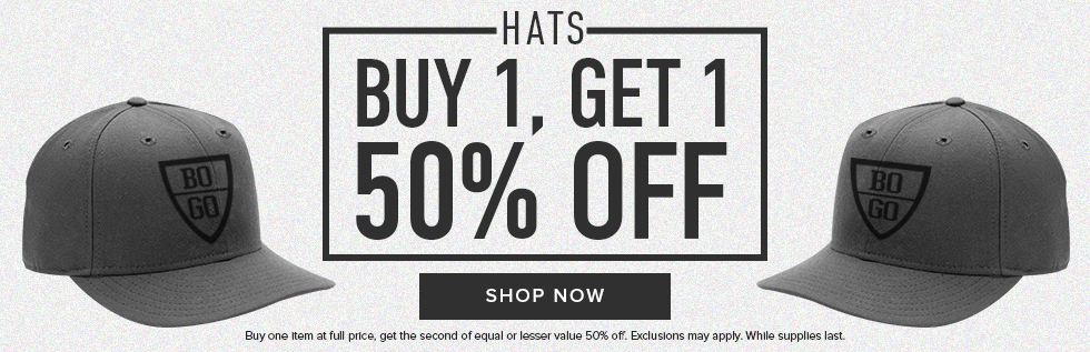 Picture of baseball caps. Hats: buy 1, get 1 50% off. Buy one item at full price, get the second of equal or lesser value 50% off. Exclusions my apply. While supplies last. Click to shop now.